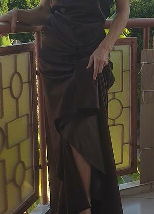 Diğer Koyu Bordo Drapeli Saten Uzun Elbise