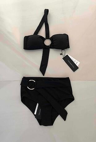 Trendyol Siyah Tokalı Yüksek Bel Bikini Takımı