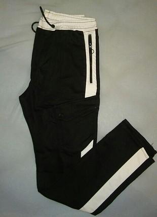 Zara siyah beyaz kargo pantolom