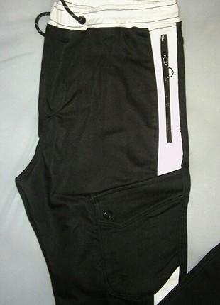 40 Beden siyah beyaz kargo pantolom