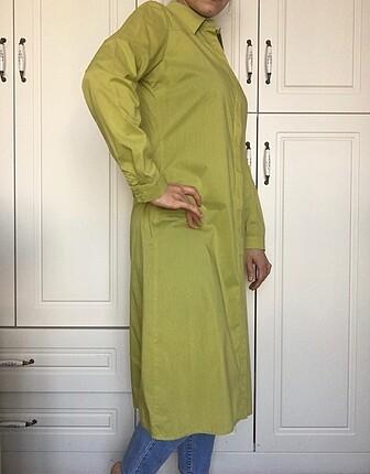 38 Beden Ghisa marka uzun fıstık yeşili gömlek