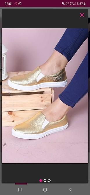 Gold Renk 39 Numara Şık Ayakkabi