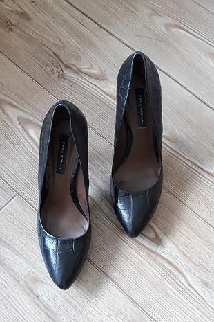 platform deri zara topuklu ayakkabı