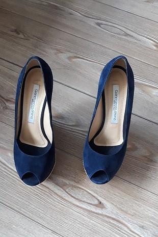 lacivert önü açık platform dolu topuklu ayakkabı