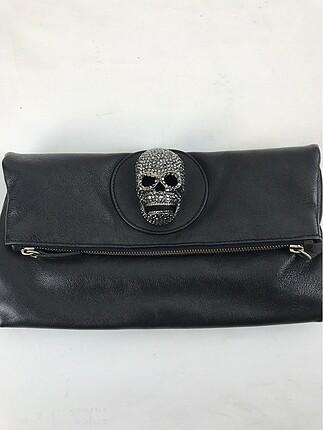 Detaylı Siyah Clutch Çanta