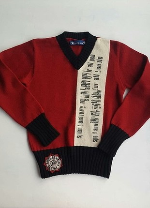 Kırmızı vintage v yaka kazak