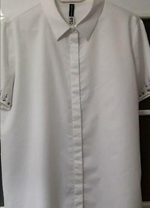 l Beden beyaz Renk Beymen clup kolları taşlı gömlek