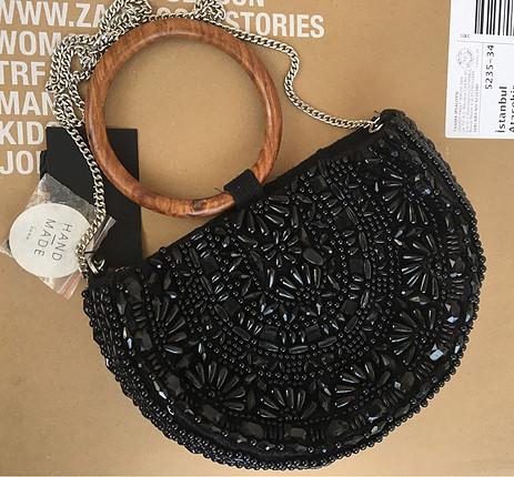 m Beden Zara yeni etiketli el yapımı çanta