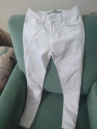 26 Beden Koton beyaz kot pantolon ve parlak tayt