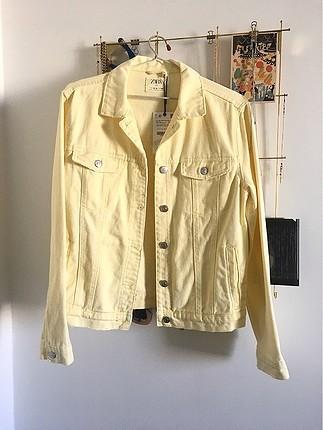 Zara Sarı Kot Ceket