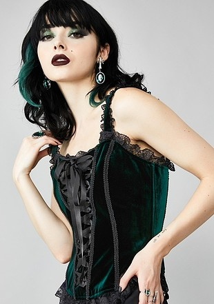 Tasarımcı Siyah Yeşil Renk Değiştiren Kadife Gotik Korse