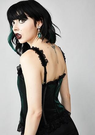 s Beden Siyah Yeşil Renk Değiştiren Kadife Gotik Korse