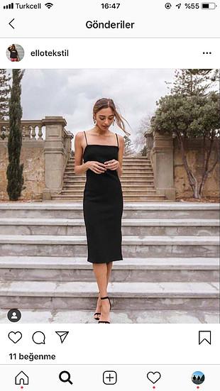 Siyah midi elbise