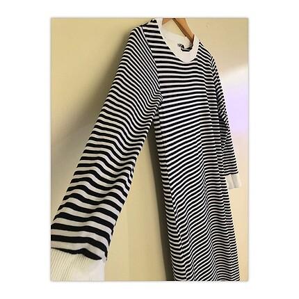 Uzun kol çizgili penye elbise