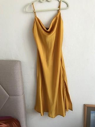 Gold Saten Degajeli Elbise