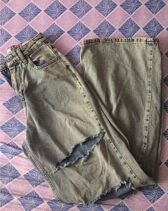 yüksekbel kot wide leg pantolon
