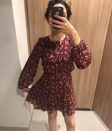 Mango Çiçekli Bordo Elbise