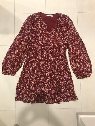 s Beden bordo Renk Mango Çiçekli Bordo Elbise