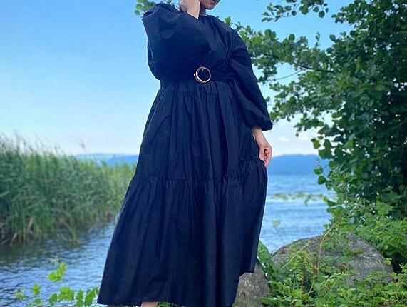 H&M siyah uzun elbise