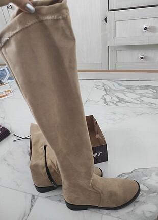 Sıfır bej Camel çorap çizme uzun yeni etiketli