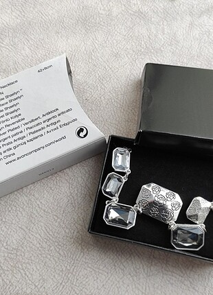Avon çift taraflı kolye gül şekilli gri siyah gümüş renk