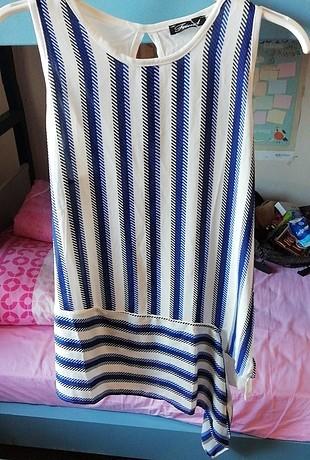 beyaz mavi siyah desenli elbise