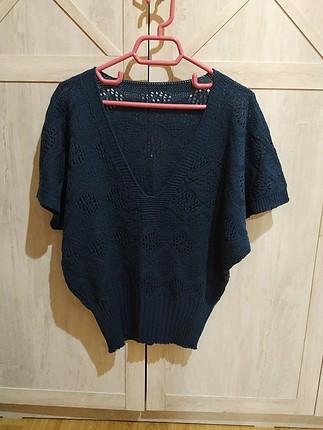temiz lacivert yarım kol bluz triko