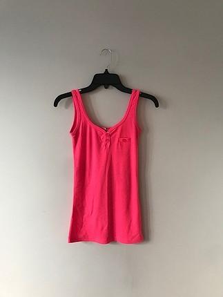 Neon pembe askılı bluz
