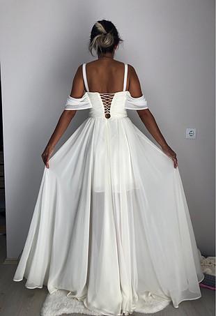 Krem tül elbise (34-36 beden)