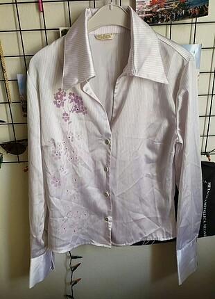 Saten çiçek detaylı Vintage gömlek