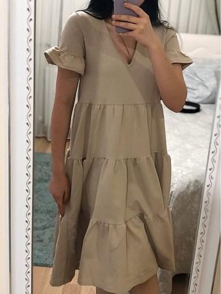 Salaş Krem Elbise